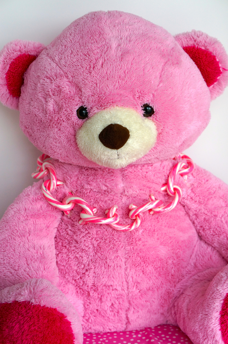 Pink Bear With Linky Doodles Necklace | Sweeterville.com