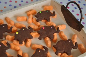 Elephant Cookies on a bed of Circus Peanuts