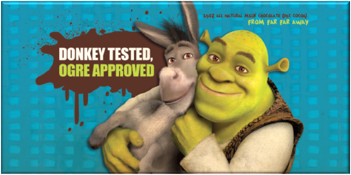 Dreamworks Shrek and Donkey chocolate bar | Sweeterville.com