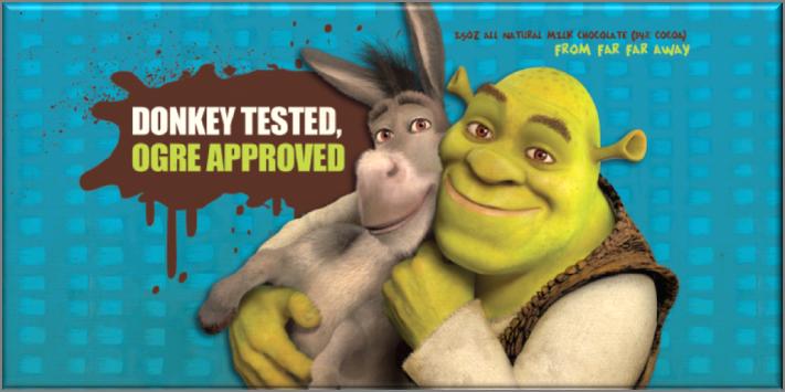 Dreamworks Shrek and Donkey chocolate bar | Sweeterville.com