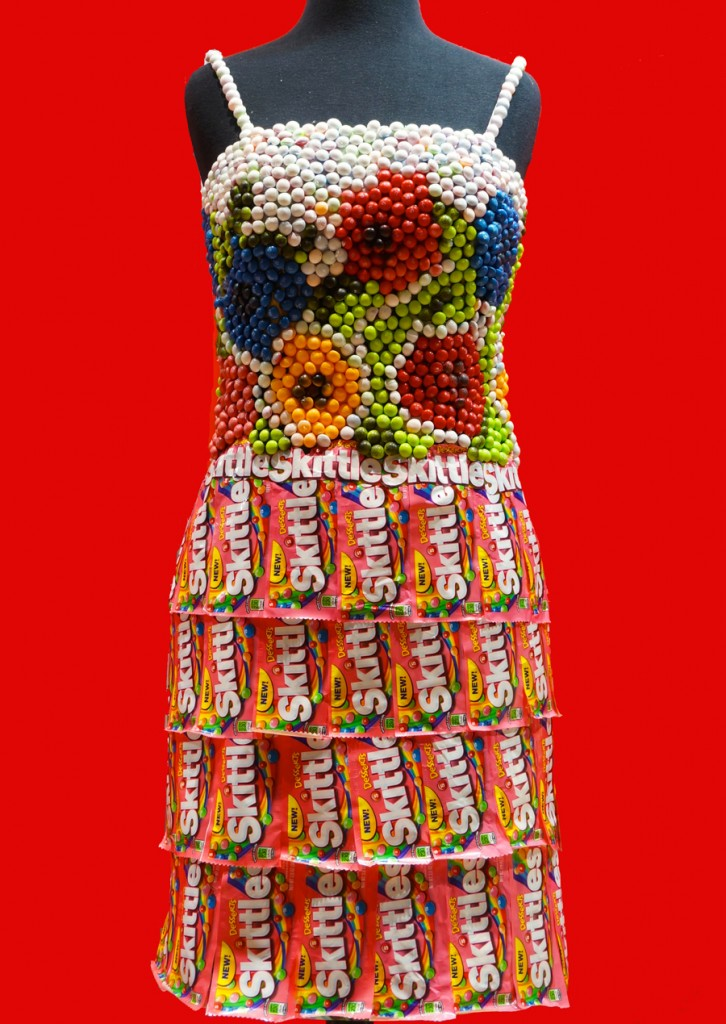 Skittles candy wrapper dress