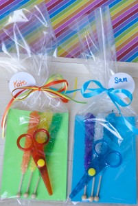 Rock, Paper Scissors Party Favors! Make with rock candy, colorful paper, and safety scissors. Instant party fun! |Sweeterville.com