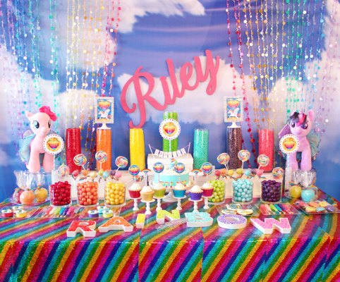 Rainbow candy buffet table