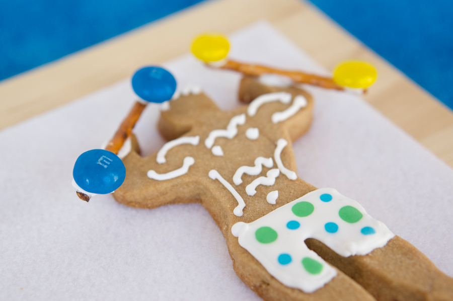 Beach Boy Cookie with M&M's Barbells | Sweeterville.com