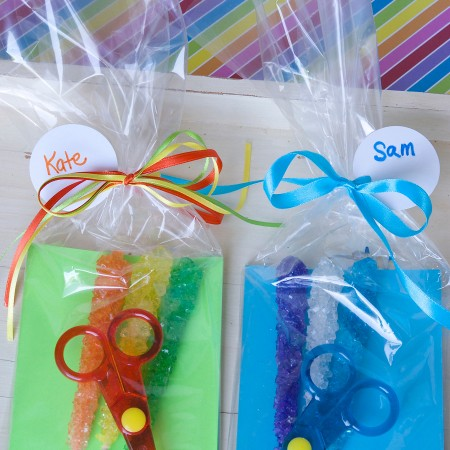 Rock, Paper Scissors Party Favors! Make with rock candy, colorful paper, and safety scissors. Instant party fun!  Sweeterville.com