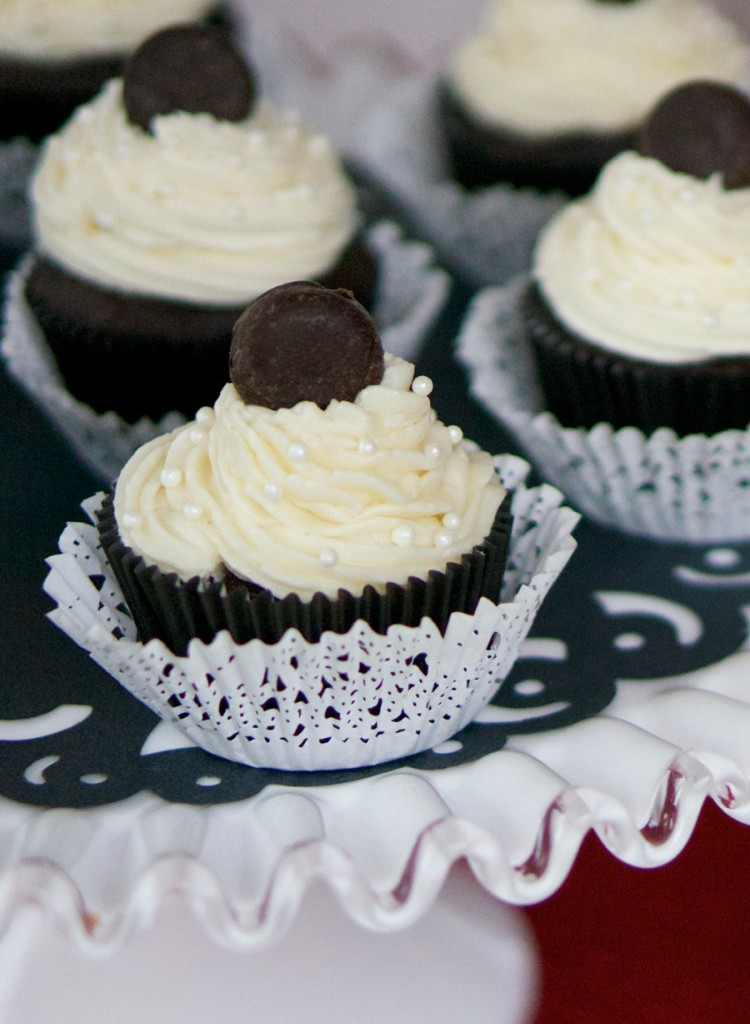 Stanley Cup Cakes topped with Mini York Peppermint Patty Pucks | Sweeterville.com