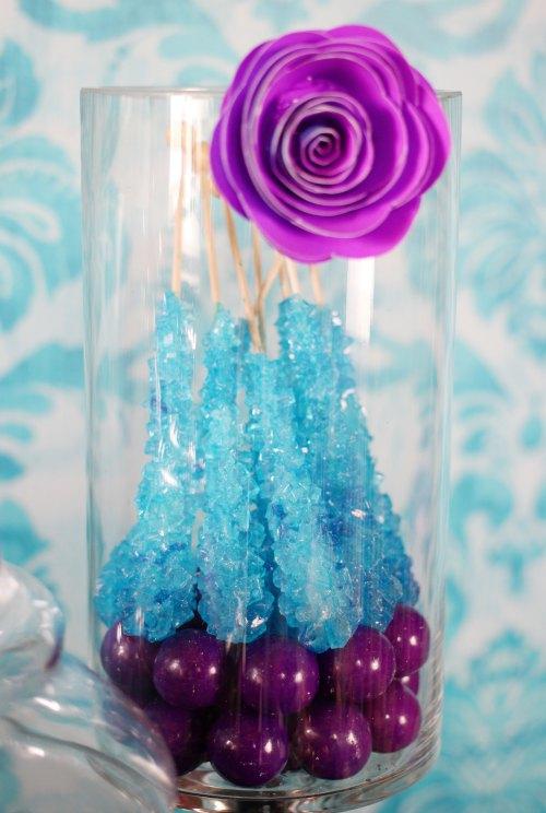 Blue Rock Candy over Purple Gum Balls