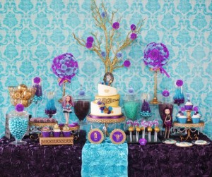 Blue and purple candy buffet table